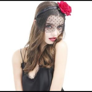 Halloween Red Roses Mesh headband